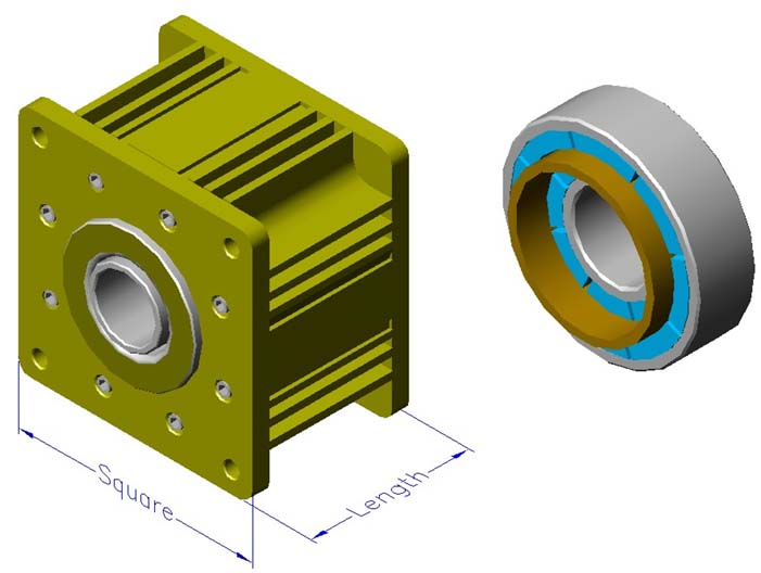 Housed ironless brushless motors, radial, double rotor, hollow shaft