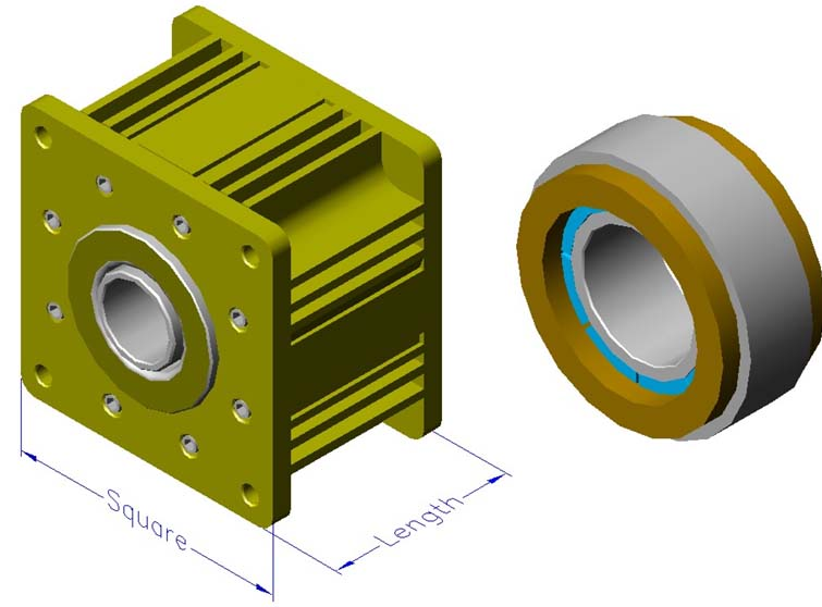 Housed slotless iron core brushless motors, radial, external rotor, hollow shaft